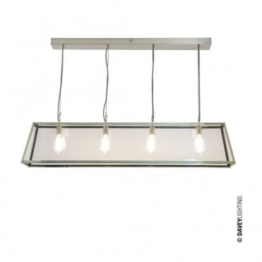 DINER - Polished Nickel 4 Light Glazed Ceiling Pendant Bar
