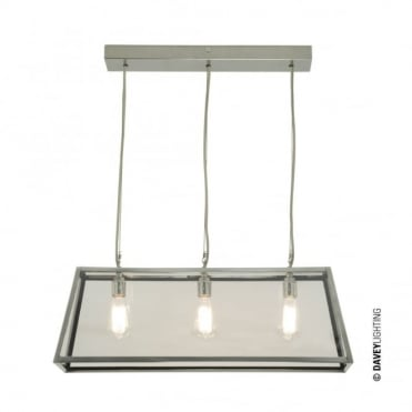 DINER - Satin Nickel 3 Light Glazed Ceiling Pendant Bar