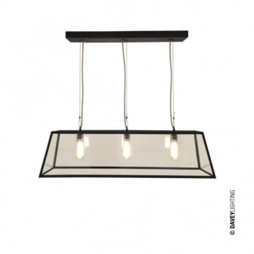 DINER - Weathered Brass 3 Light Glazed Ceiling Pendant Bar