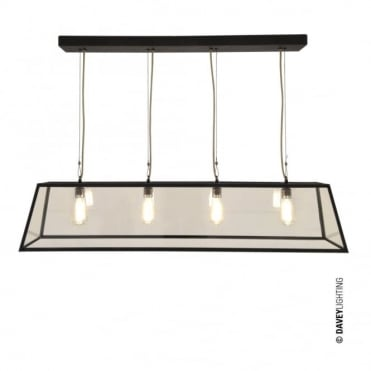 DINER - Weathered Brass 4 Light Glazed Ceiling Pendant Bar