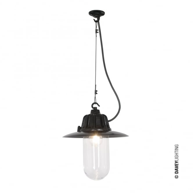 DOCKSIDE - Ceiling Pendant With Reflector Black Clear Glass, IP44 Outdoor and Bathroom Safe