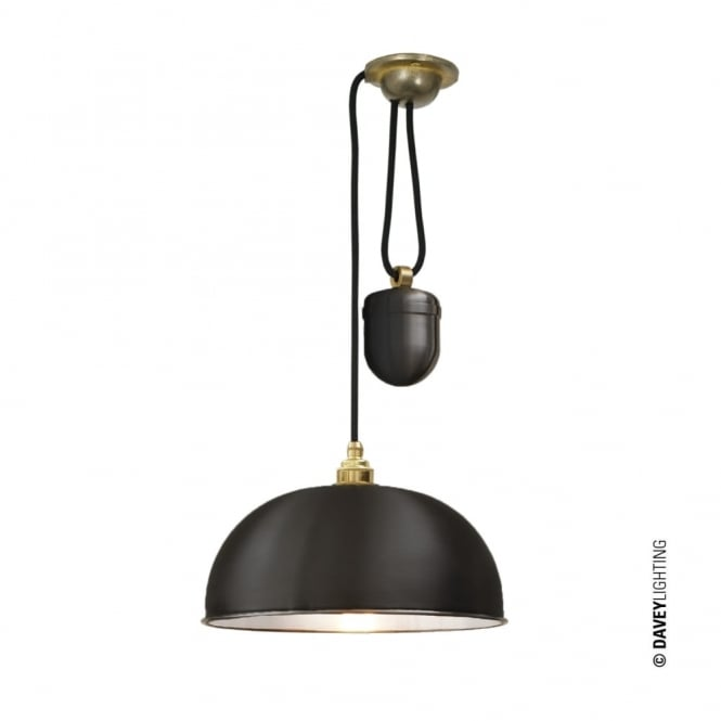 Davey Lighting DOME - Rise and Fall Ceiling Ceiling Pendant Black White Interior - Perfect over Tables!