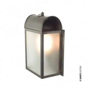 DOMED - Box Wall Light Weathered Brass Frosted Glass