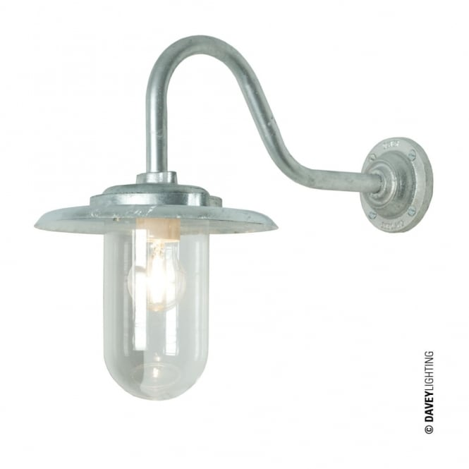 EXTERIOR - Bracket Light 100W Swan Neck Galvanised Clear Glass