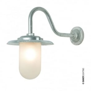 EXTERIOR - Bracket Light 100W Swan Neck Galvanised Frosted Glass