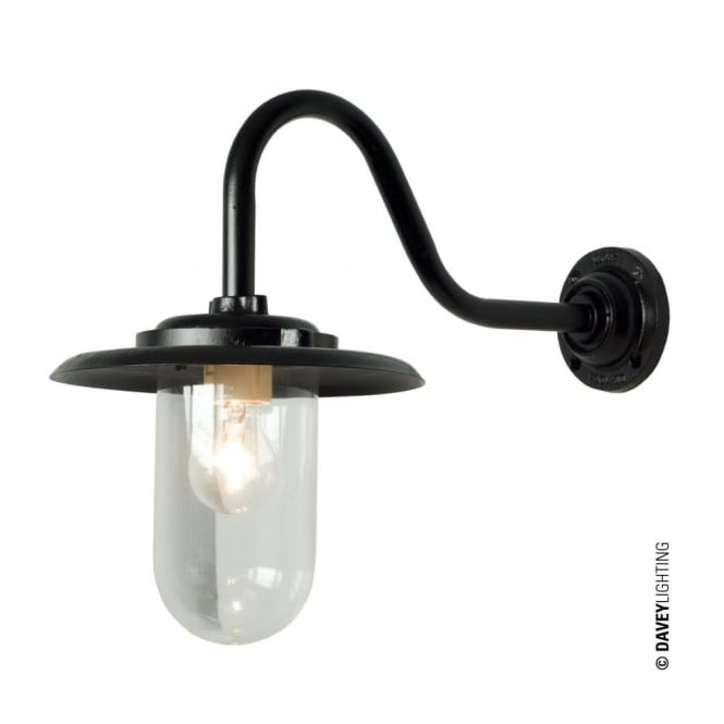 Davey Lighting EXTERIOR - Bracket Light 100W Swan Neck Painted Black Clear Glass