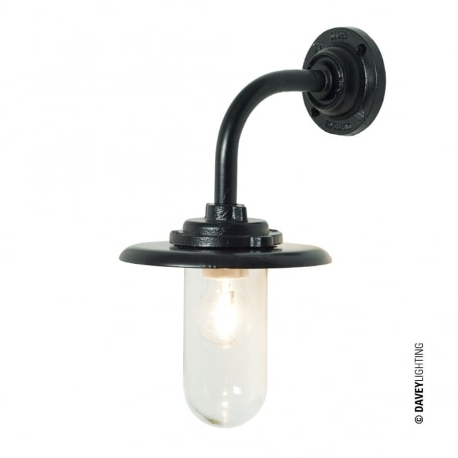 Davey Lighting EXTERIOR - Bracket Light 60W Round Painted Black Clear Glass