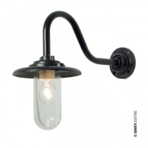 EXTERIOR - Bracket Light 60W Swan Neck Painted Black Clear Glass