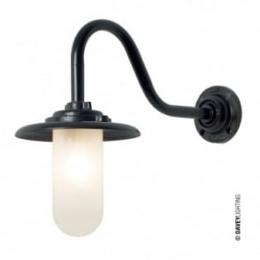 EXTERIOR - Bracket Light 60W Swan Neck Painted Black Frosted Glass