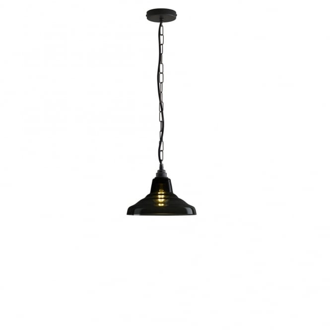 GLASS - School Ceiling Pendant 1 Anthracite Brass
