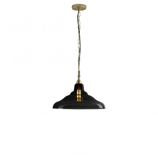 Davey Lighting GLASS - School Ceiling Pendant 2 Anthracite Brass
