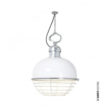 LARGE - Oceanic Large Industrial Ceiling Pendant in White with Cage