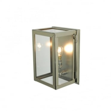 MINIATURE - Exterior Box Wall Light Glazed Polished Nickel Clear Glass