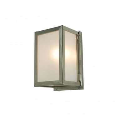 MINIATURE - Exterior Box Wall Light Glazed Satin Nickel Frosted Glass