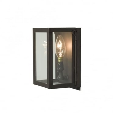 MINIATURE - Exterior Box Wall Light Glazed Weathered Brass Clear Glass