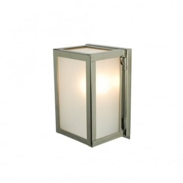 MINIATURE - Outdoor Box Wall Light Glazed Polished Nickel Frosted Glass