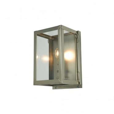 MINIATURE - Outdoor Box Wall Light Glazed Satin Nickel Clear Glass