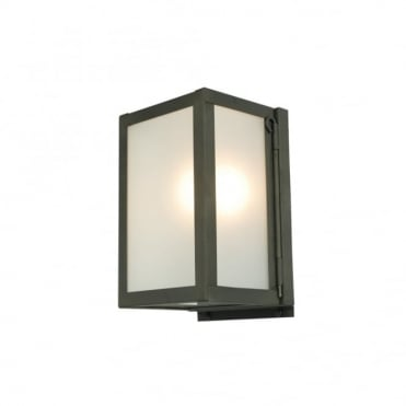MINIATURE - Outdoor Box Wall Light Glazed Weathered Brass Frosted Glass