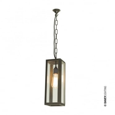 NARROW - Glazed Box Ceiling Pendant Weathered Brass Clear Glass