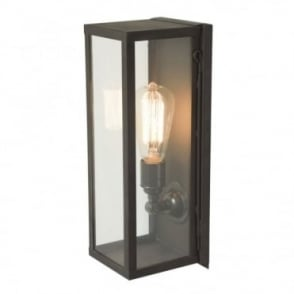 NARROW - Outdoor Box Wall Light Glazed Weathered Brass Clear Glass