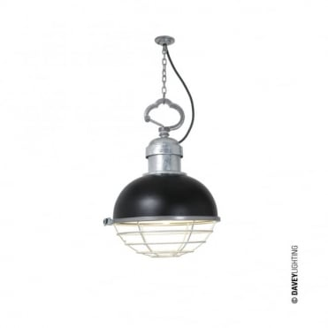 OCEANIC - Industrial Ceiling Pendant in Black with Cage