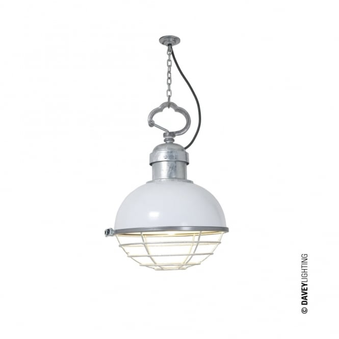 OCEANIC - Industrial Ceiling Pendant White with Cage