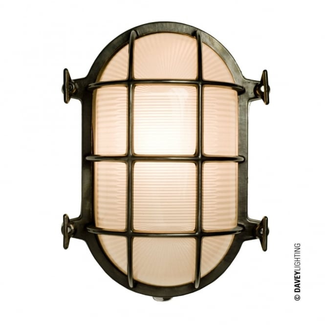 Davey Lighting OVAL - Brass Bulkhead 7034 With Internal Fixing Weathered Brass