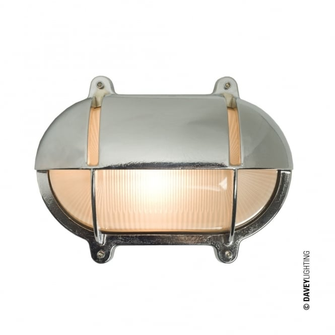 OVAL - Brass Exterior Bulkhead With Eyelid Shield Medium Chrome Plated