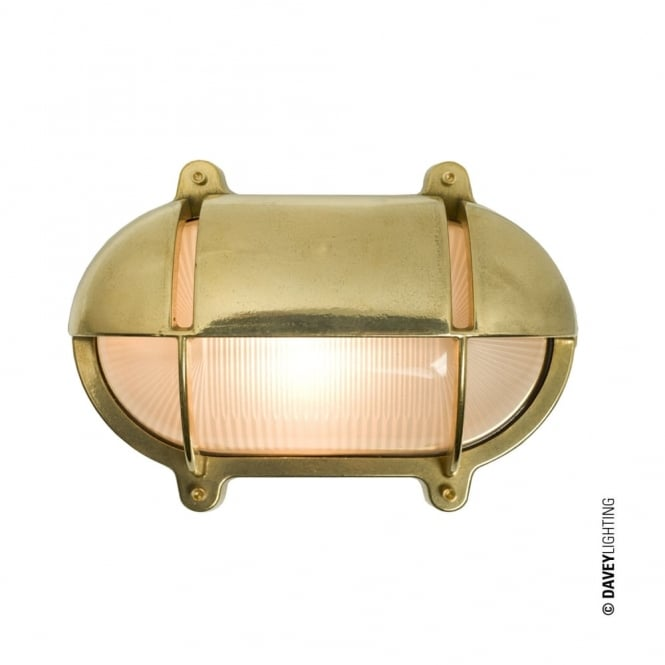 Davey Lighting OVAL - Brass Exterior Bulkhead With Eyelid Shield Medium Natural Brass