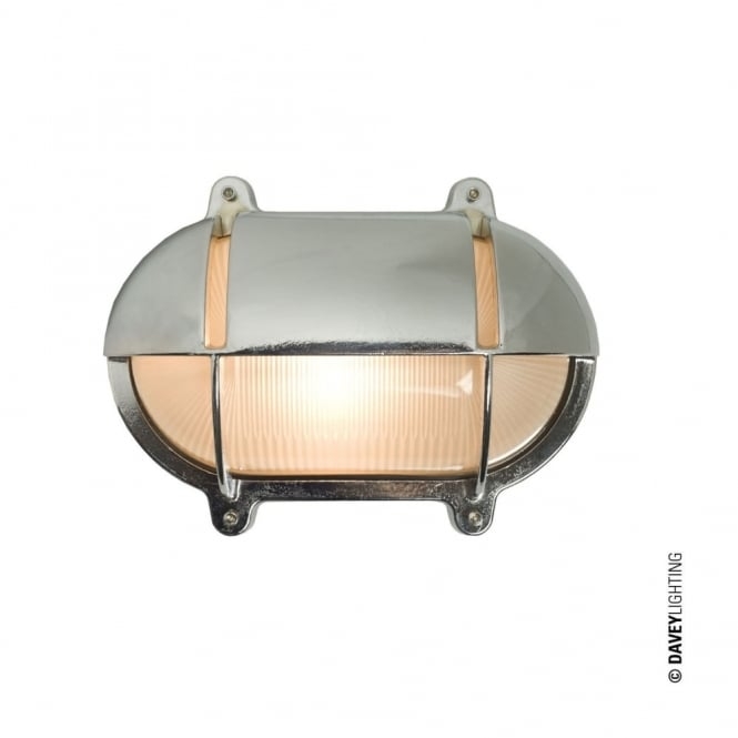 Davey Lighting OVAL - Brass Exterior Bulkhead With Eyelid Shield Small Chrome