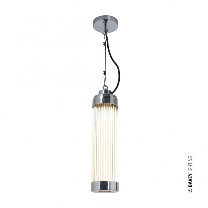 PILLAR - LED Ceiling Pendant in Polished Chrome with Glass Rods