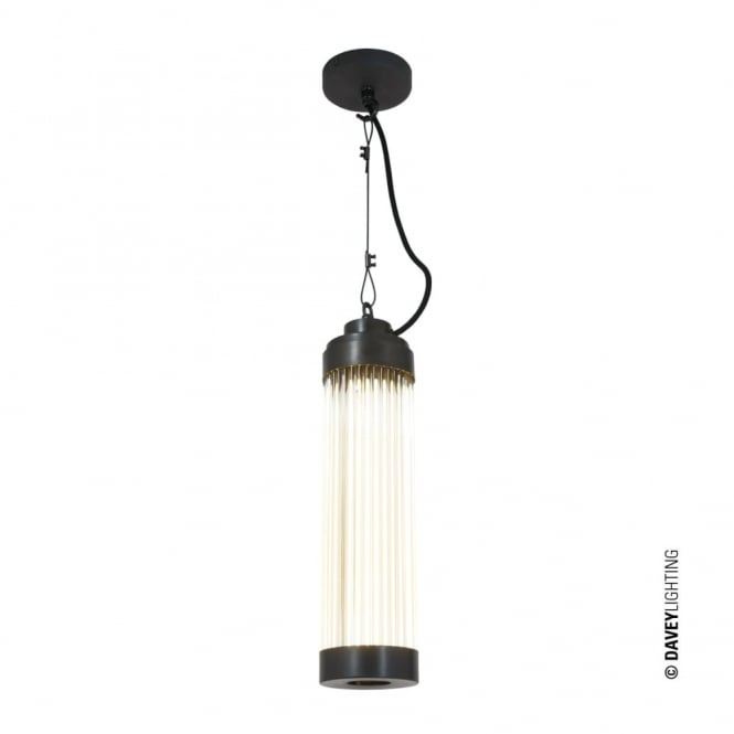 Davey Lighting PILLAR - LED Ceiling Pendant in Weathered Brass with Glass Rods