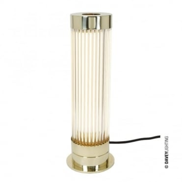 PILLAR - LED Table Light in Polished Brass with Glass Rods