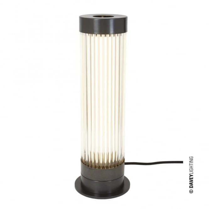Davey Lighting PILLAR - LED Table Light in Weathered Brass with Glass Rods