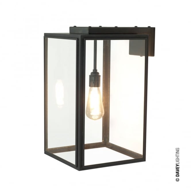 Davey Lighting PORTICO - Outdoor Wall Light Weathered Brass Clear Glass