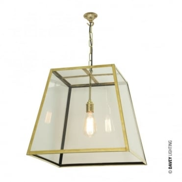 QUAD - Ceiling Pendant Internal Glass Large Polished Brass Clear Glass