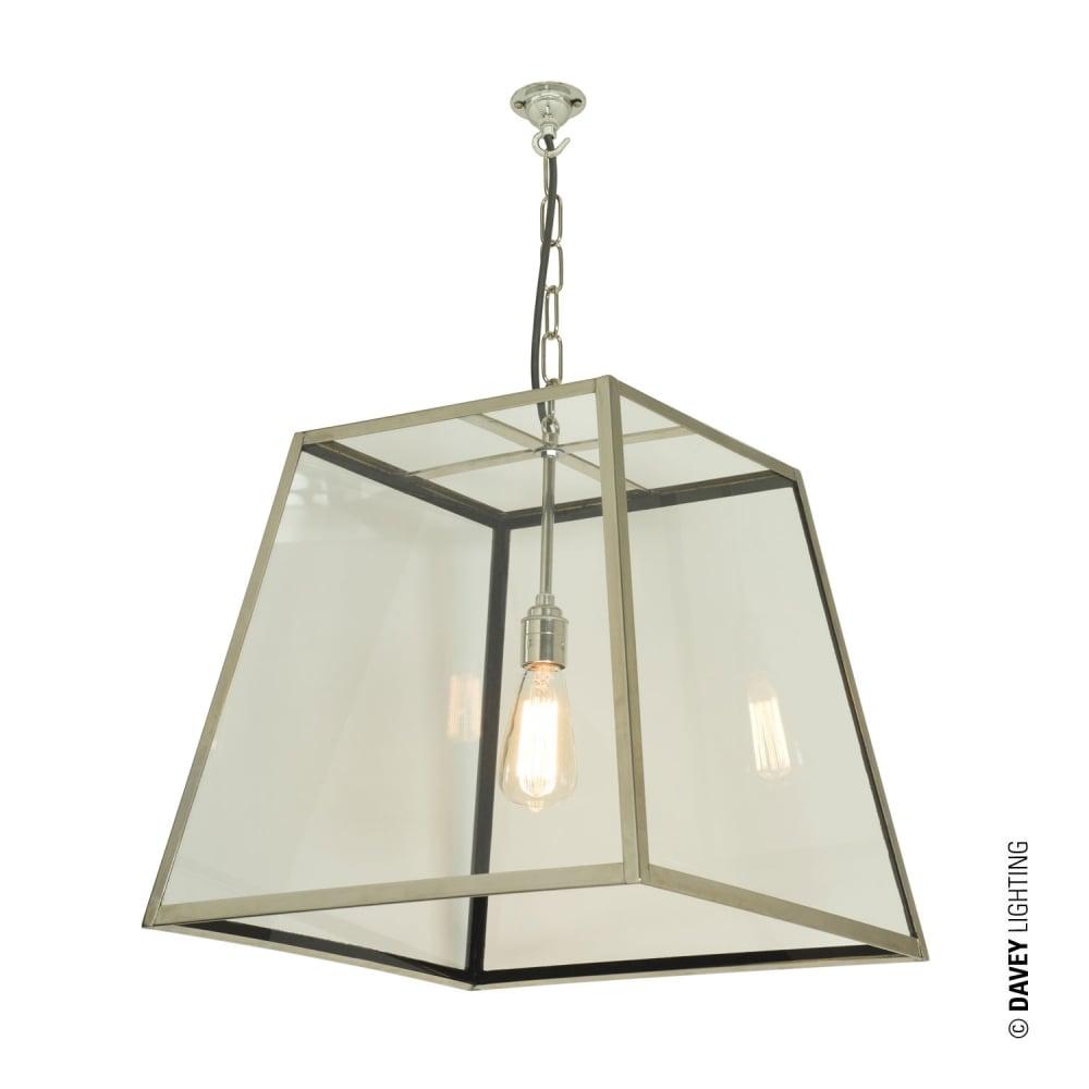 QUAD Ceiling Pendant Internal Glass Large Polished Nickel