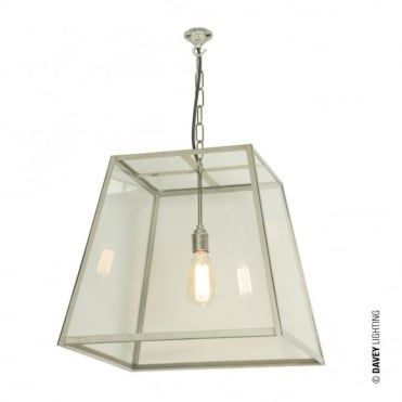 QUAD - Ceiling Pendant Internal Glass Large Satin Nickel Clear Glass
