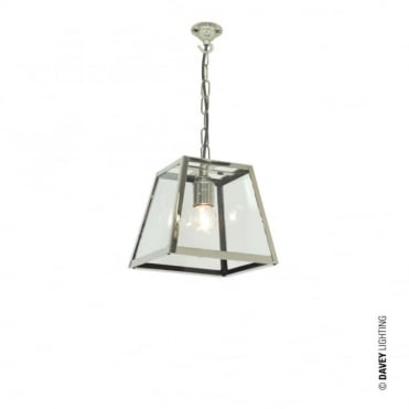 QUAD - Ceiling Pendant Internally Glazed Small Satin Nickel Clear Glass