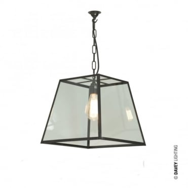 QUAD - Ceiling Pendant Light Internal Glass Medium Weathered Brass Clear Glass