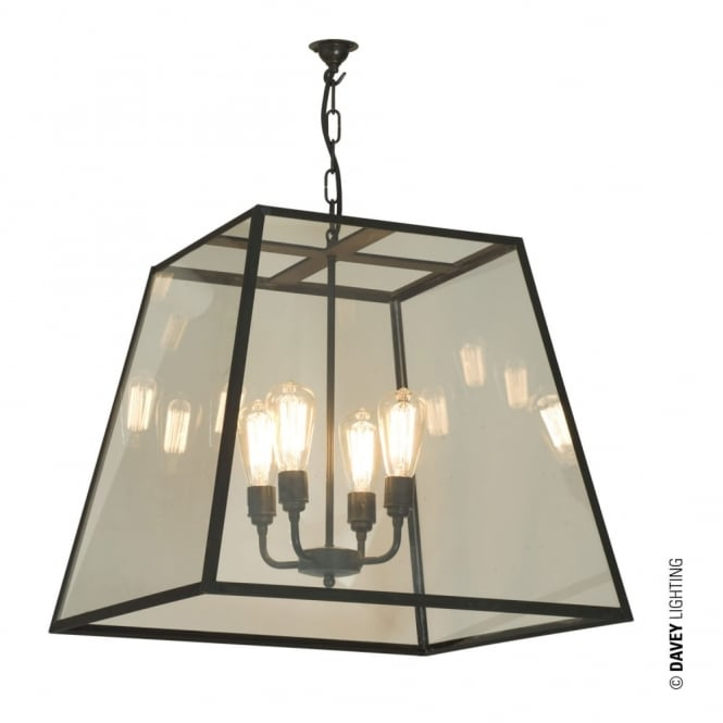 QUAD - Large 4 Light Ceiling Pendant Weathered Brass Clear Glass