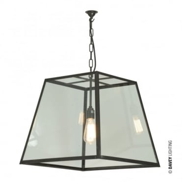 QUAD - Pendant Internal Glass Large Weathered Brass Clear Glass