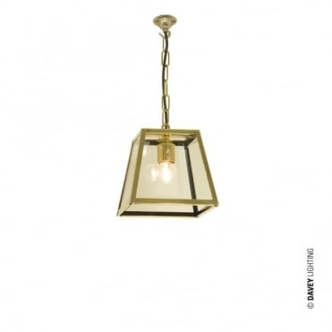 QUAD - Pendant Internally Glazed Small Polished Brass Clear Glass