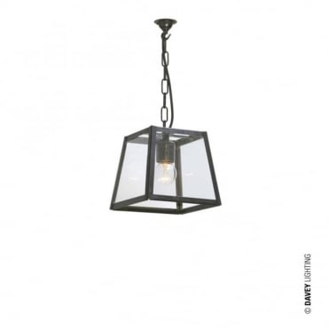 QUAD - Pendant Internally Glazed Small Weathered Brass Clear