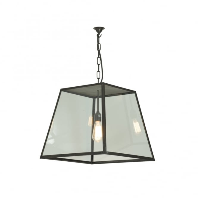 Davey Lighting QUAD - Porch Ceiling Pendant Light Closed Top Large Weathered Brass Clear
