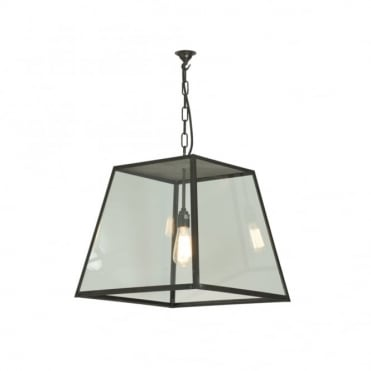 QUAD - Porch Ceiling Pendant Light Closed Top Large Weathered Brass Clear