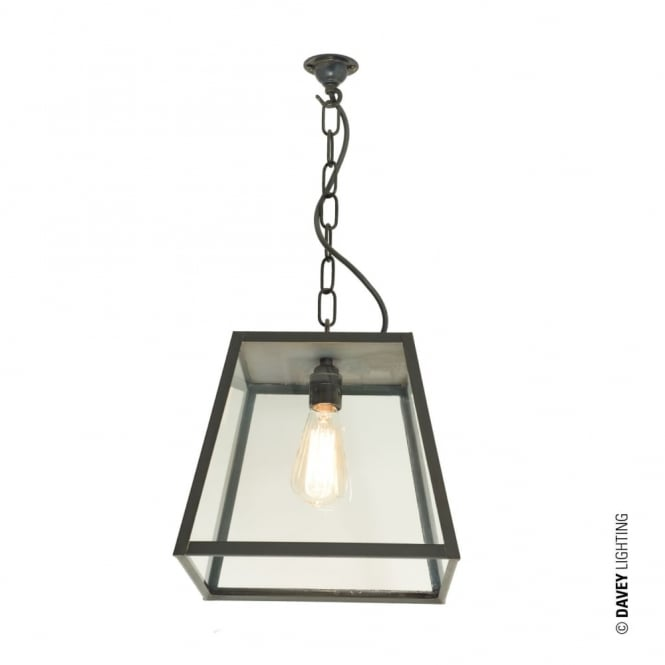 QUAD - Porch Ceiling Pendant Light Closed Top Medium Weathered Brass Clear