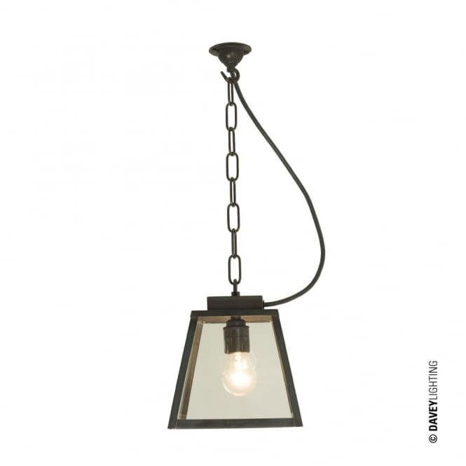Davey Lighting QUAD - Porch Ceiling Pendant Light Small Weathered Brass Clear Closed Top