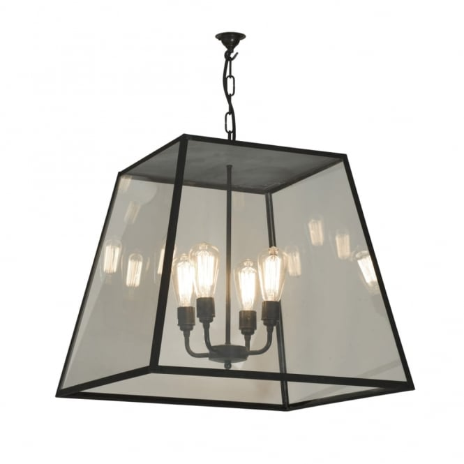 Davey Lighting QUAD - XL 4 Light Porch Ceiling Pendant Light Closed Top Weathered Brass Clear Glass