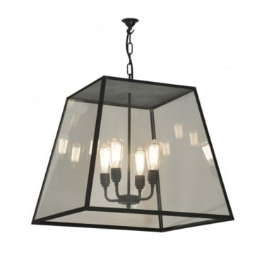 QUAD - XL 4 Light Porch Ceiling Pendant Light Closed Top Weathered Brass Clear Glass